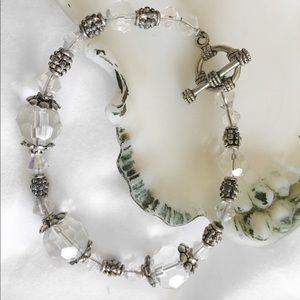 FACETED CRYSTAL SILVER BEAD TOGGLE BRACELET